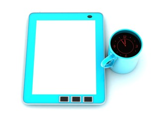 Tablet computer and a cup