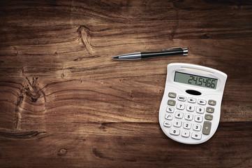 calculator pen desk