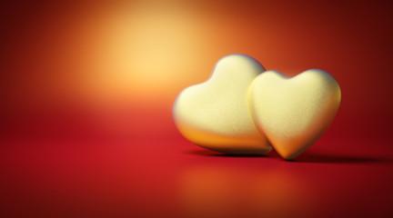 Goldene Herzen auf Rot