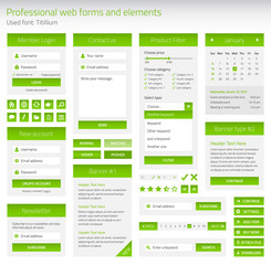 Professional set of web forms and elements