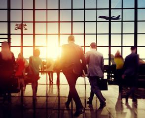 Business People Rushing Walking Plane Travel Concept