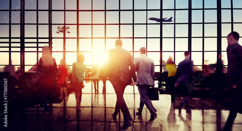 Business People Rushing Walking Plane Travel Concept - 77060367