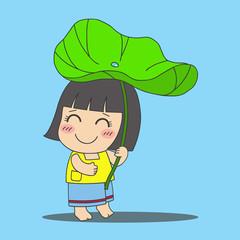 little Thai girl under lotus leaf