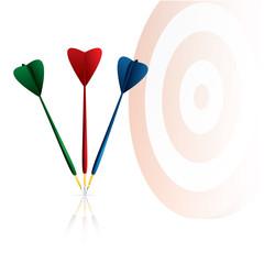 Darts target and arrows