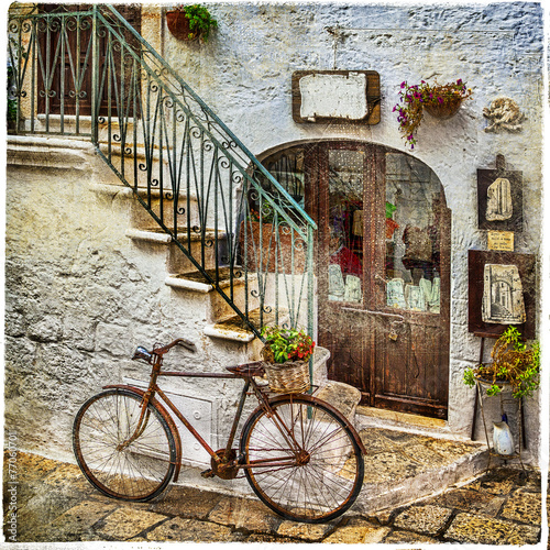 Fototapeta old streets of italy, artistic vintage picture