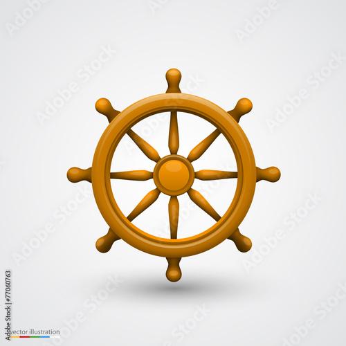 Wooden ship wheel - 77060763