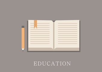Modern and classic design education concept flat icon