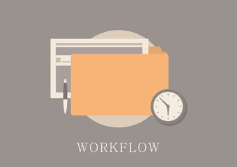 Modern and classic design work flow concept flat icon