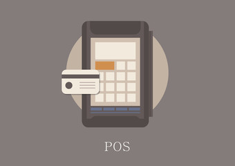 Modern and classic design card pos concept flat icon