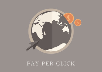 Modern and classic design pay per click concept flat icon