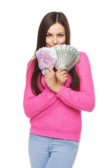 Casual woman with us dollars and euro cash