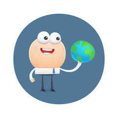 funny character holding planet earth