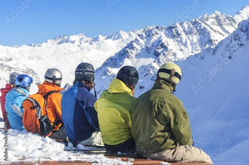 canvas print picture Wintersportler genießen den Ausblick