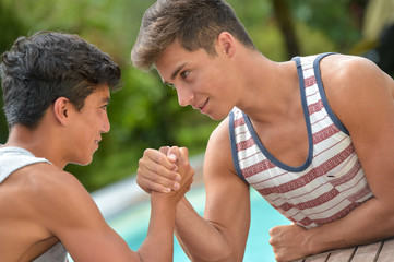 Twin Brothers Arm Wrestling-Teenagers