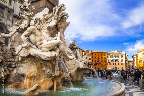 Aluminium Fontaine Rome - beautiful piazza Navona
