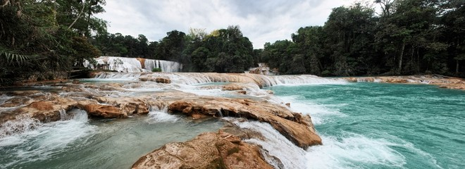 Panorama of Agua Azul (Blue Water) Waterfalls in Palenque