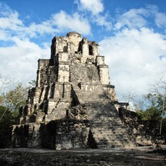 Pyramid at Muyil Ruins - mayan site and Peten architecture