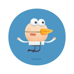 funny character flies like a bird with a beak