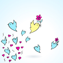 birds and flower heart love fly group element color object sketc
