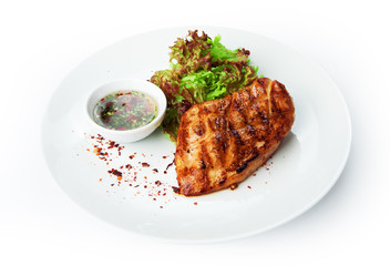 Restaurant food isolated - chicken fillet grilled steak