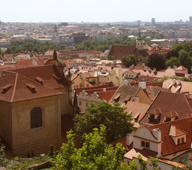 Panorama of Charles bridge, View From Castle, Prague