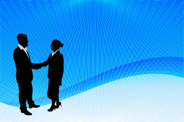 business people silhouette on the abstract background - vector