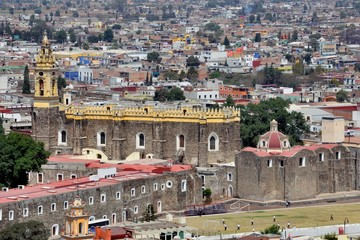 Aerial view of Convent of San Gabriel in Cholula