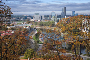 Aerial view of Vilnius, Lithuania with Autumn Trees