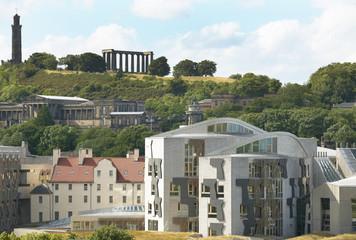 Edinburgh city view with Parliament and Regent Garden. Scotland.