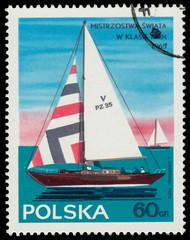 Stamp printed in Poland sailboat