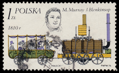 Stamp printed in Poland shows locomotive