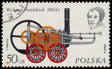 Stamp printed in Poland shows engine