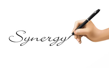 synergy word written by 3d hand