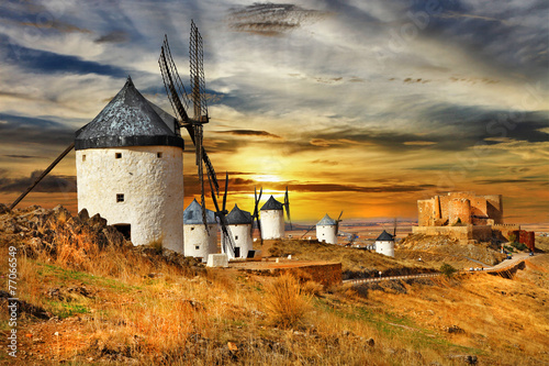 windmils of Spain, Castilla la mancha - 77066549