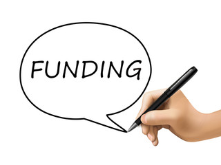 funding word written by 3d hand