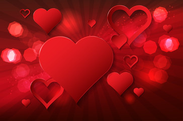 Valentines day background with abstract hearts