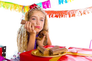 Bored gesture blond kid girl in party with puppy