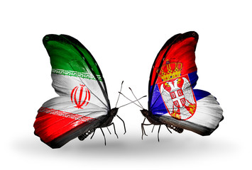 Two butterflies with flags Iran and Serbia