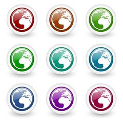 earth web icons vector set