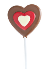 Chocolate heart lollipop isolated on white
