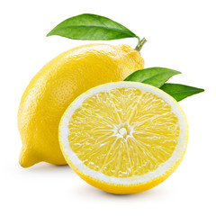 Lemon. Fruit with half and leaves isolated on white © Tim UR