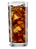 Glass of cola with ice cubes isolated on white. With clipping pa