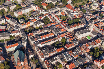 POLAND, OPOLE - AUGUST 19, 2012: Aerial view of Opole city cente