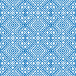 Geometric seamless ethnic pattern background in blue colors - 77068188