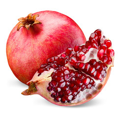 Pomegranate and its piece isolated on a white background.