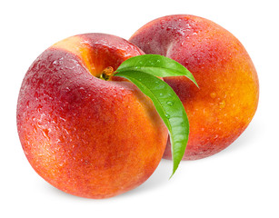 Two peaches with drops isolated on white