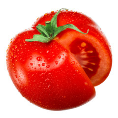 Tomato with drops isolated on white