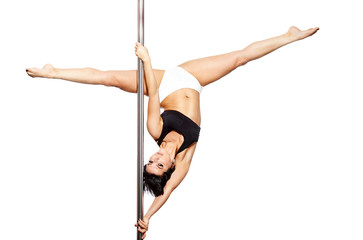 Young woman exercise pole dance, isolated on white