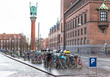 Many bicycles parked in centre of city in Copenhagen, Denmark