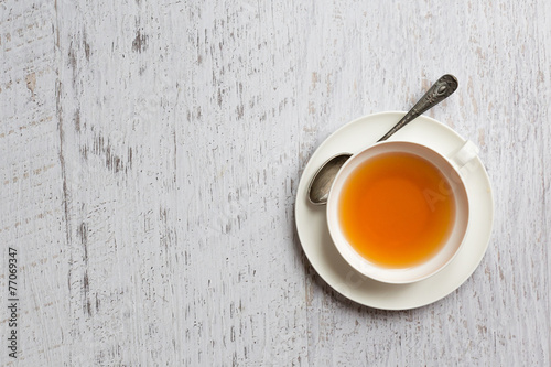 In de dag Thee Cup of tea on white background, top view point